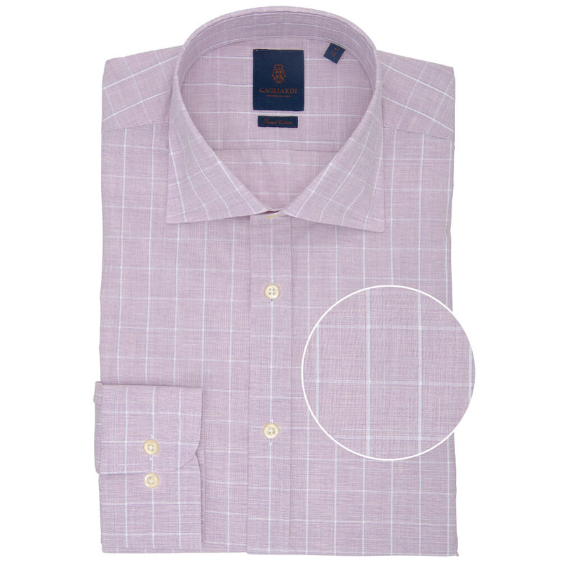 Slim Fit Pink Melange Windowpane Poplin Cotton Shirt - Gagliardi