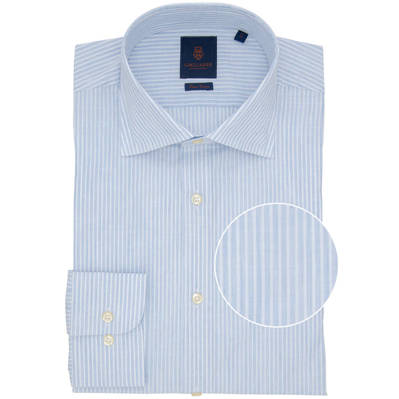 Slim Fit Blue Melange Bengal Stripe Poplin Cotton Shirt - Gagliardi