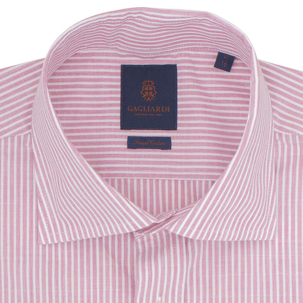 Slim Fit Pink Melange Bengal Stripe Poplin Cotton Shirt - Gagliardi