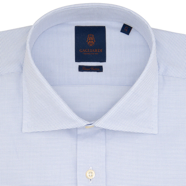 Slim Fit Sky Pindot Micro Weave Cotton Shirt - Gagliardi