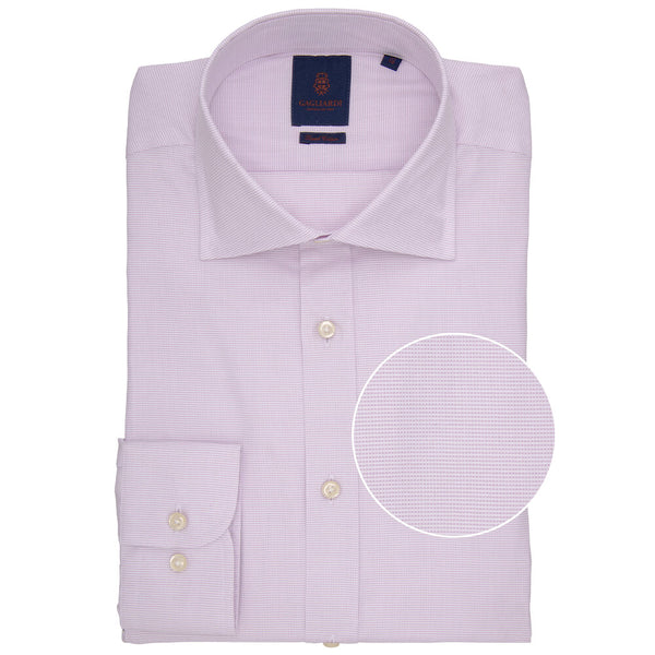 Slim Fit Lilac Pindot Micro Weave Cotton Shirt - Gagliardi