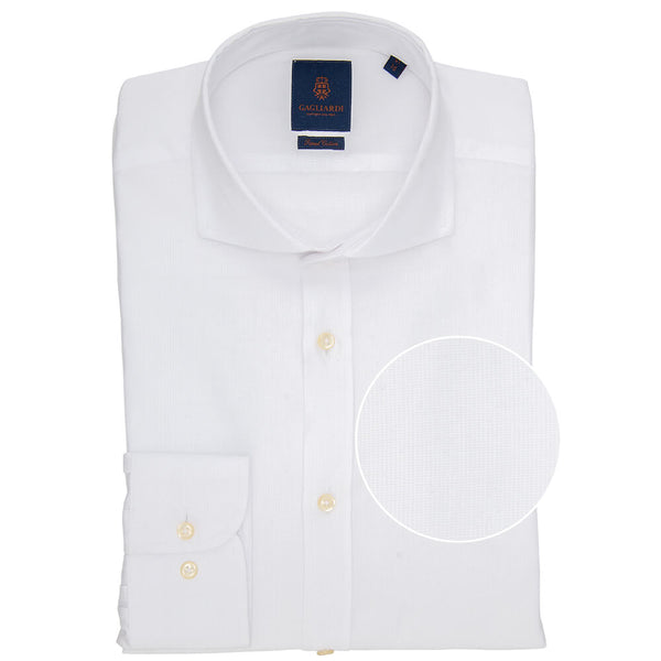 Slim Fit White Rib Micro Weave Cotton Shirt - Gagliardi