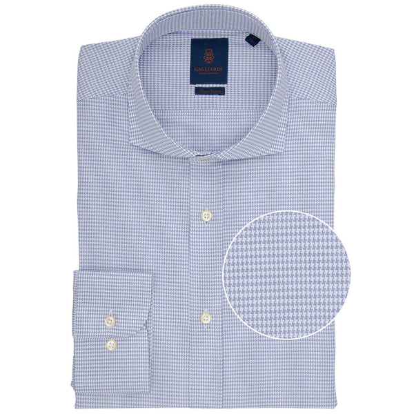 Slim Fit Navy Houndstooth Micro Weave Cotton Shirt - Gagliardi