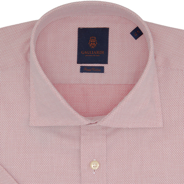 Slim Fit Red Birdseye Weave Micro Weave Cotton Shirt - Gagliardi