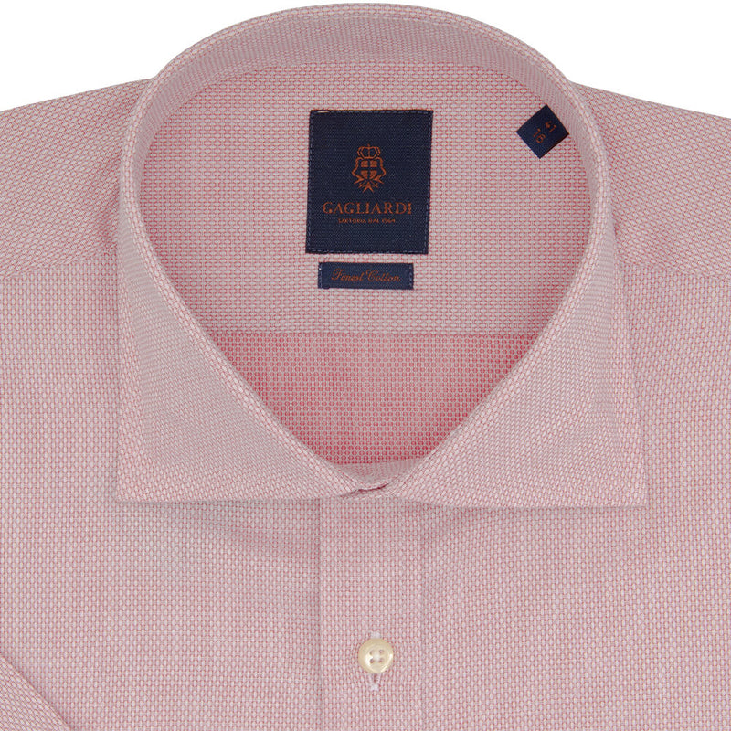 Slim Fit Red Birdseye Weave Micro Weave Cotton Shirt