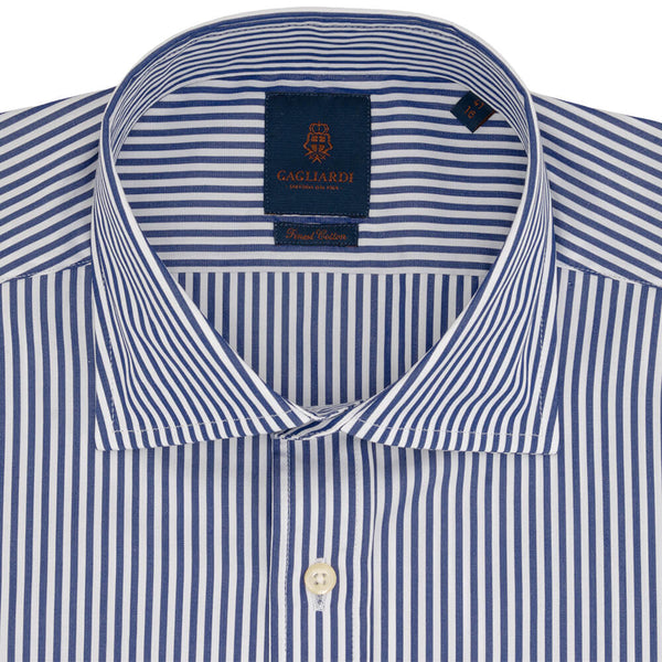 Slim Fit Navy Bengal Stripe Poplin Cotton Shirt - Gagliardi