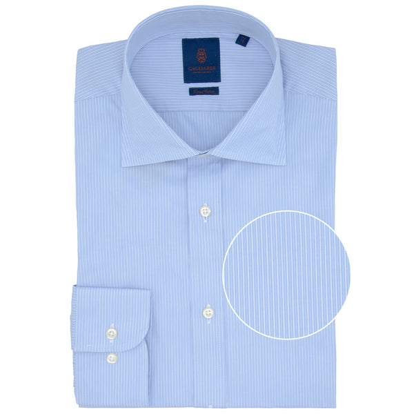 Slim Fit Blue Fine Stripe Poplin Cotton Shirt - Gagliardi