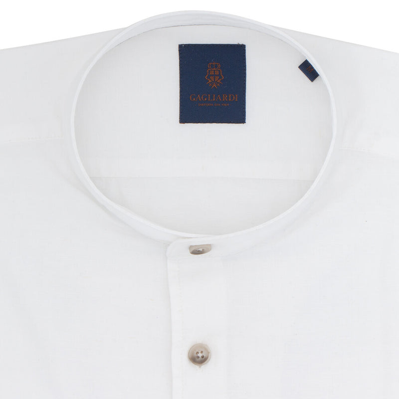 Slim Fit White Linen Shirt