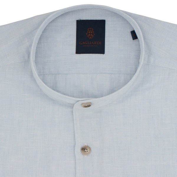 Slim Fit Sky Blue Linen Shirt - Gagliardi