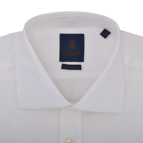 Slim Fit White Diagonal Weave Cutaway Collar Shirt - Gagliardi