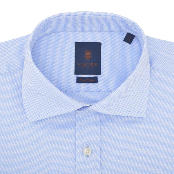 Slim Fit Sky Diagonal Weave Cutaway Collar Shirt - Gagliardi