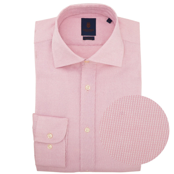 Slim Fit Pink Diagonal Weave Cutaway Collar Shirt - Gagliardi