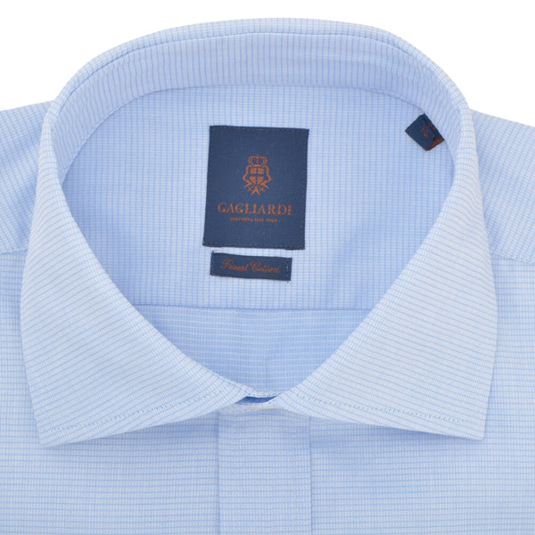 Slim Fit Sky Box Weave Cutaway Collar Shirt - Gagliardi