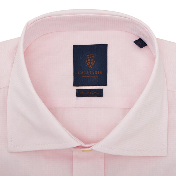 Slim Fit Pink Box Weave Cutaway Collar Shirt - Gagliardi