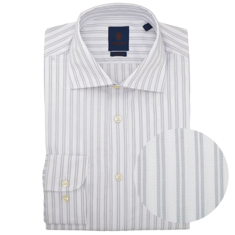 Slim Fit Silver Double Stripe Cutaway Collar Shirt - Gagliardi