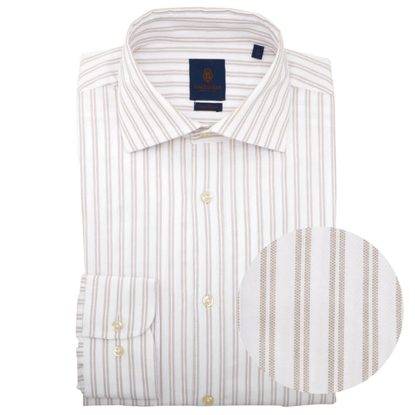 Slim Fit Gold Double Stripe Cutaway Collar Shirt - Gagliardi