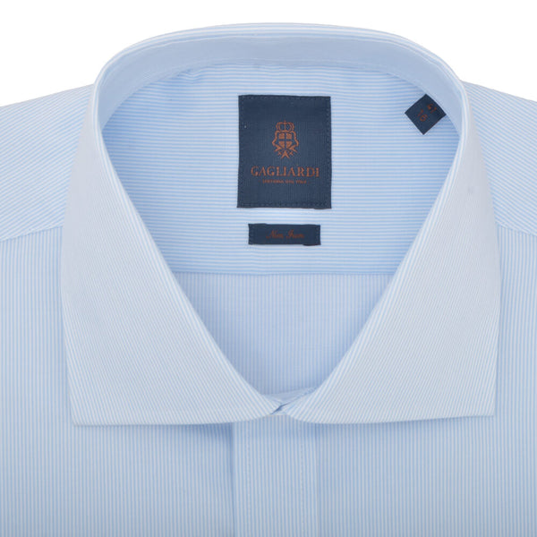 Slim Fit Sky Hairline Stripe Cutaway Collar Non-iron Shirt - Gagliardi