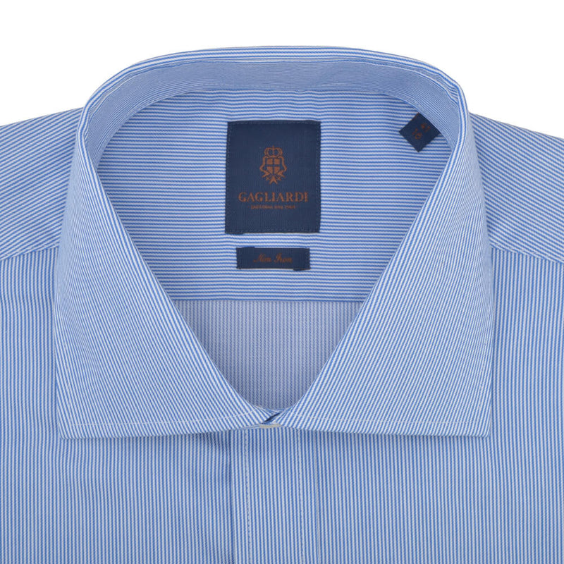 Slim Fit Blue Hairline Stripe Cutaway Collar Non-iron Shirt - Gagliardi