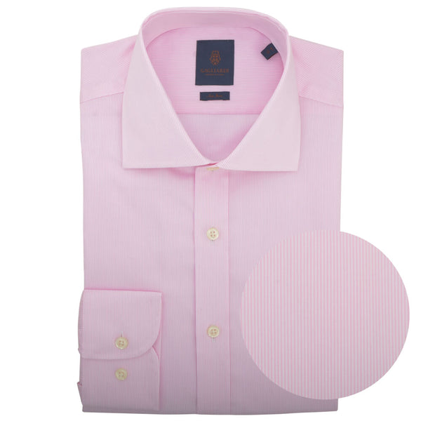 Slim Fit Pink Hairline Stripe Cutaway Collar Non-iron Shirt - Gagliardi