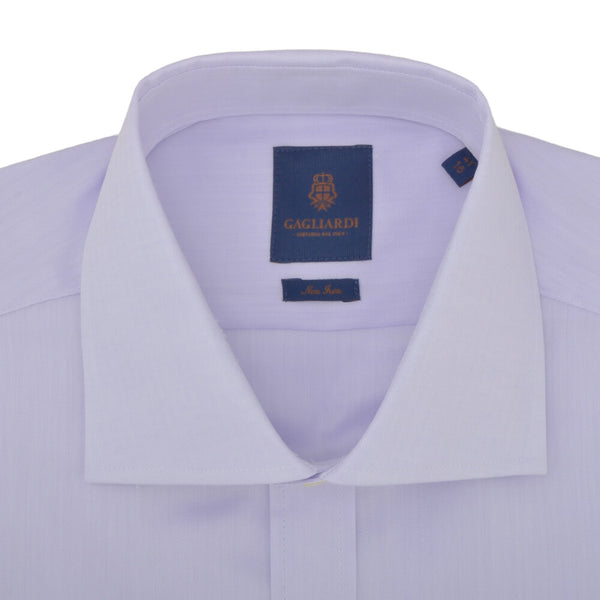 Slim Fit Lilac Herringbone Cutaway Collar Non-iron Shirt - Gagliardi