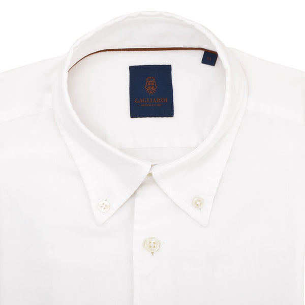 Slim Fit White Textured Button Down Collar Shirt - Gagliardi