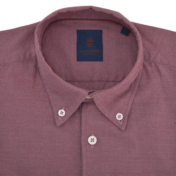 Slim Fit Red Textured Button Down Collar Shirt - Gagliardi