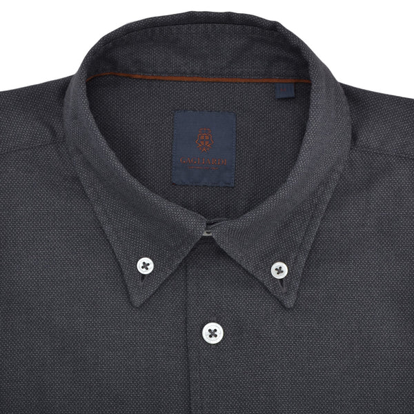 Slim Fit Charcoal Textured Button Down Collar Shirt - Gagliardi