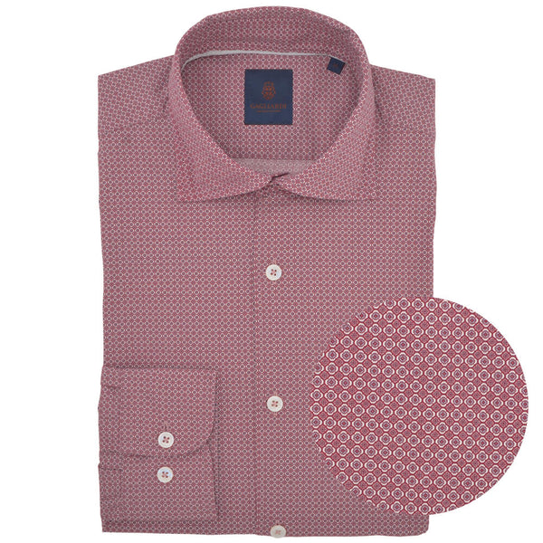 Slim Fit Red Mosaic Print Cutaway Collar Shirt - Gagliardi