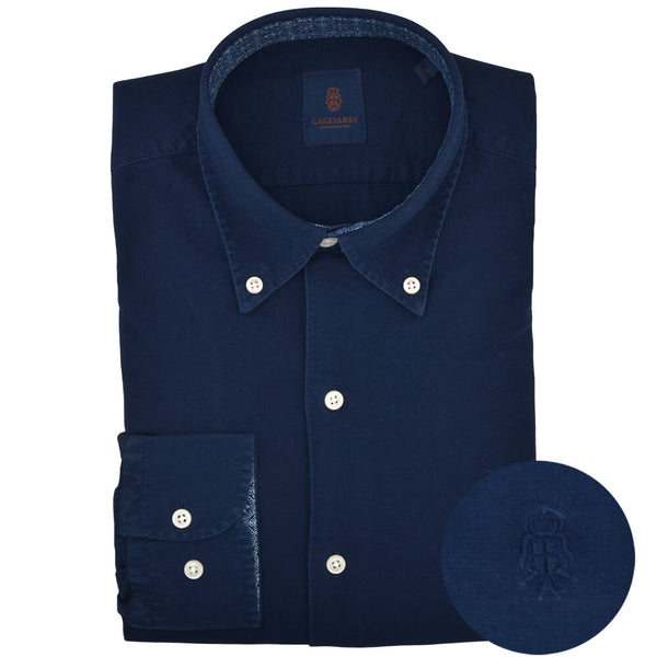 Slim Fit Navy Oxford Button Down Collar Shirt - Gagliardi