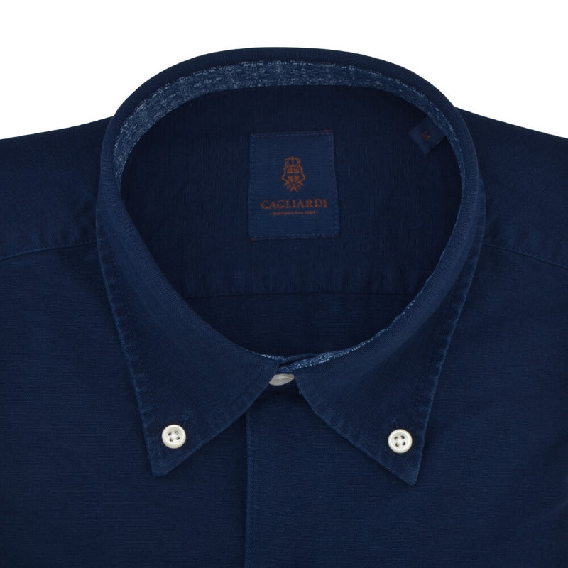 Slim Fit Navy Oxford Button Down Collar Shirt