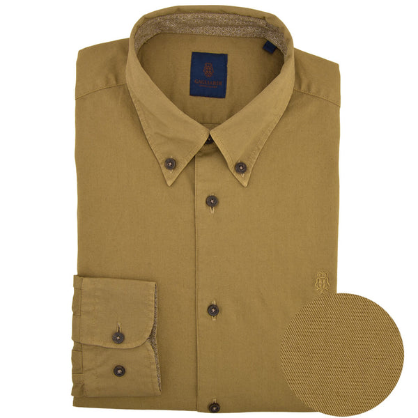 Slim Fit Mustard Oxford Button Down Collar Shirt - Gagliardi