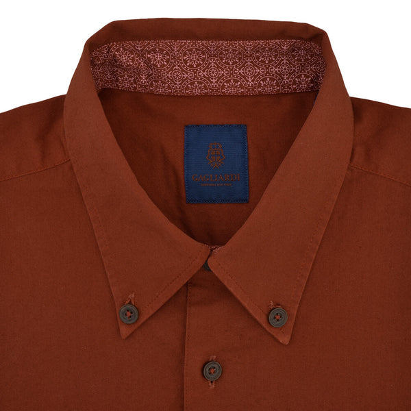 Slim Fit Rust Oxford Button Down Collar Shirt - Gagliardi