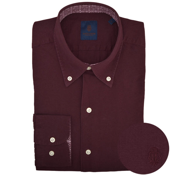 Slim Fit Bordeaux Oxford Button Down Collar Shirt - Gagliardi