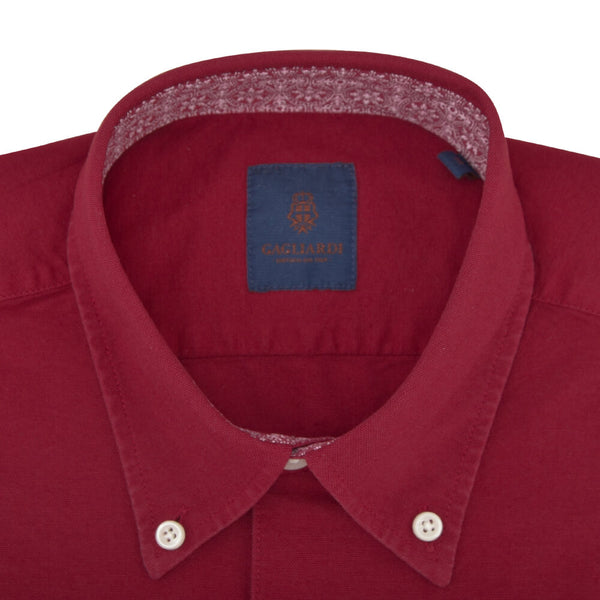 Slim Fit Red Oxford Button Down Collar Shirt - Gagliardi