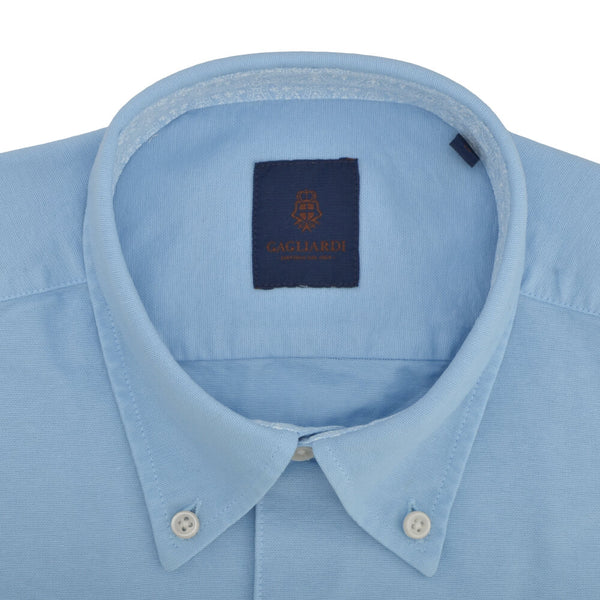 Slim Fit Sky Oxford Button Down Collar Shirt - Gagliardi