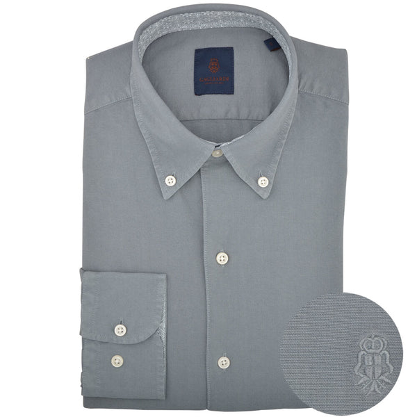 Slim Fit Grey Oxford Button Down Collar Shirt - Gagliardi