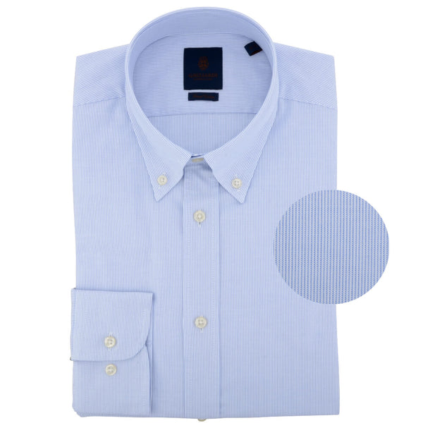 Blue Oxford Hairline Stripe Button Down Collar Shirt