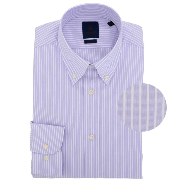 Lilac Stripe End on End Button Down Collar Shirt