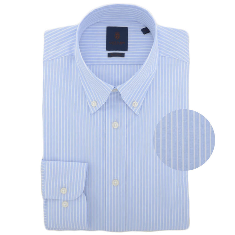 Sky Stripe End on End Button Down Collar Shirt
