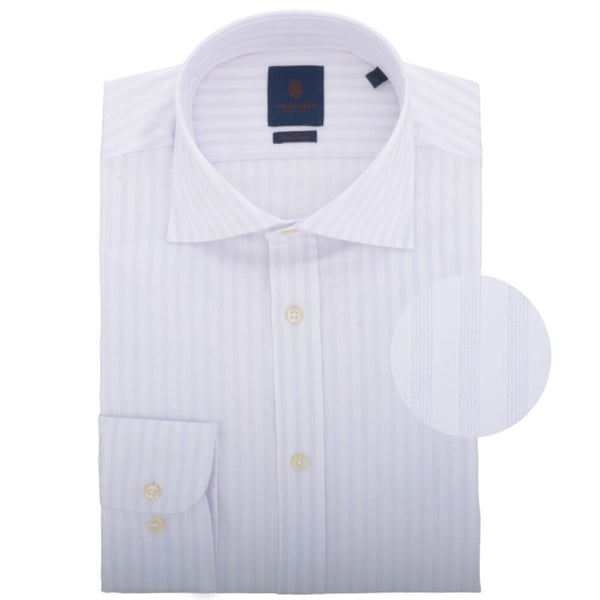White with Subtle Lilac Stripe Cutaway Collar Shirt