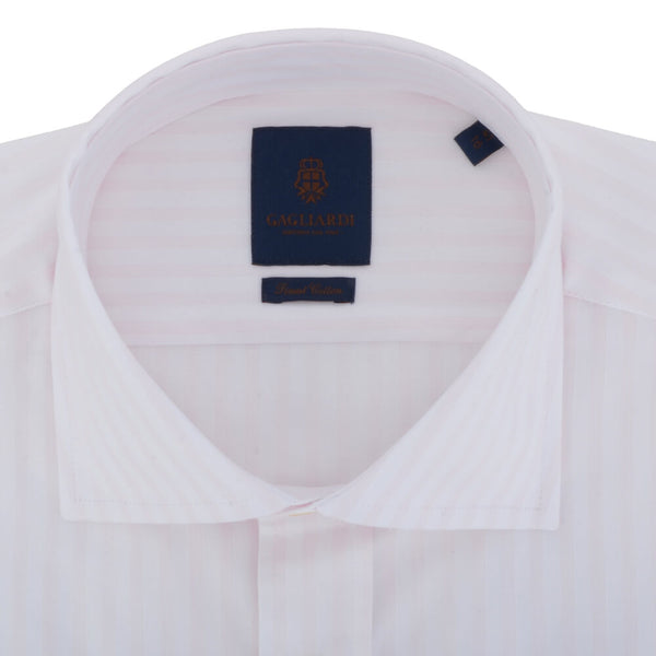White with Subtle Pink Stripe Cutaway Collar Shirt