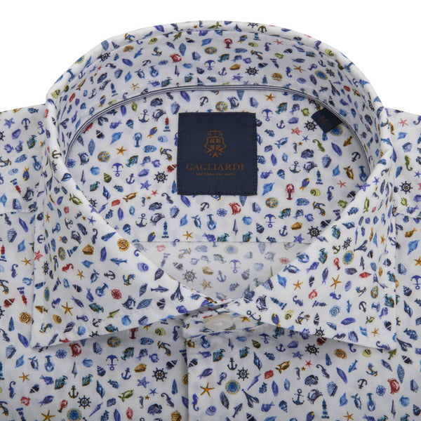 White with Blue Sea Creatures Cutaway Collar Shirt