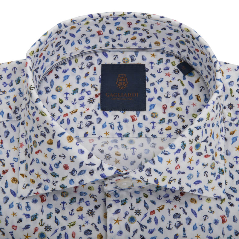 White with Blue Sea Creatures Cutaway Collar Shirt - Gagliardi