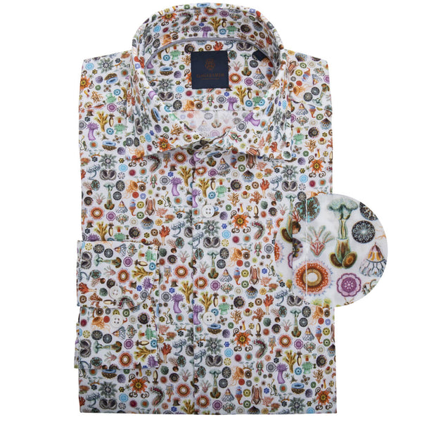 White with Orange Sea Creatures Cutaway Collar Shirt - Gagliardi