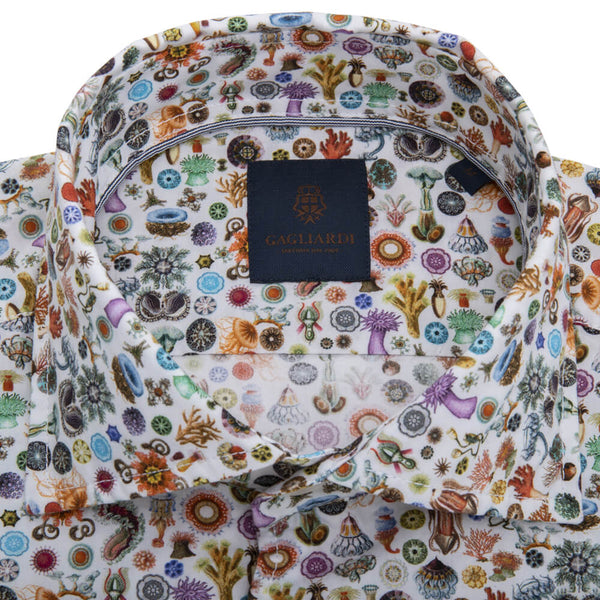 White with Orange Sea Creatures Cutaway Collar Shirt