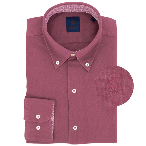 Raspberry Cotton Button Down Shirt