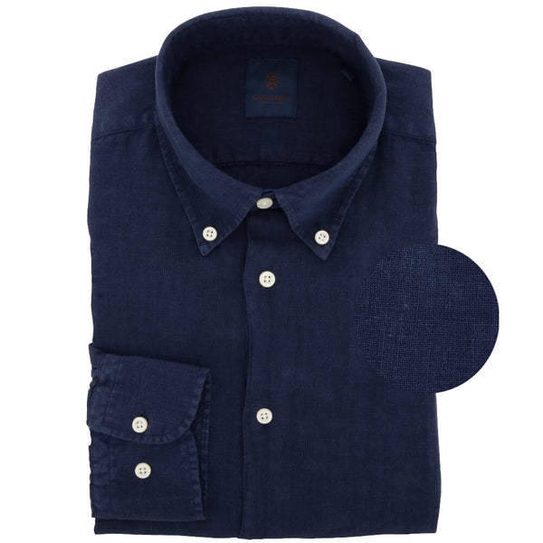 Navy Linen Button Down Shirt - Gagliardi