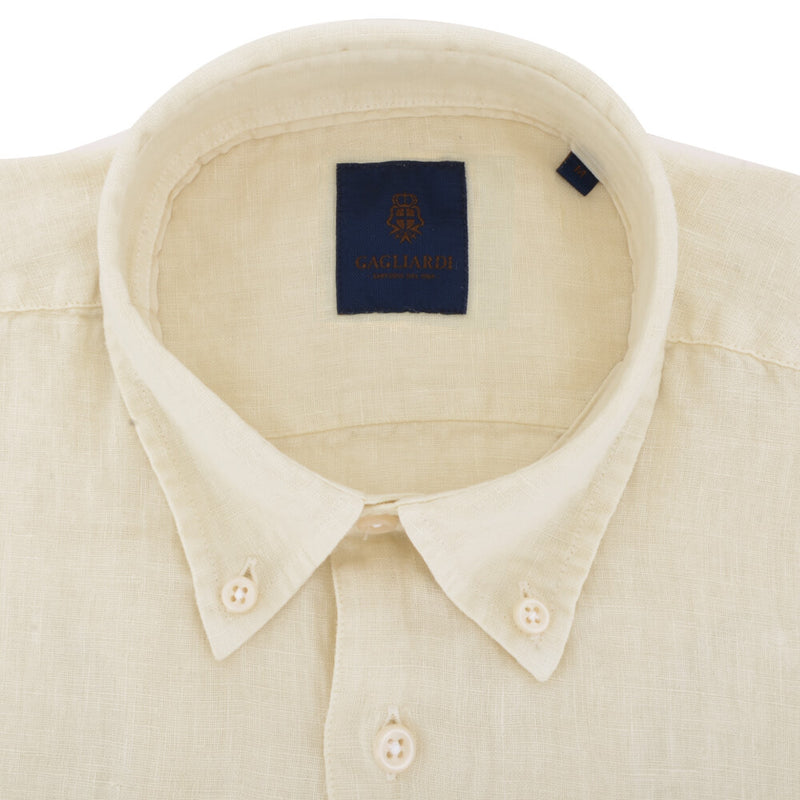 Off White Linen Button Down Shirt - Gagliardi