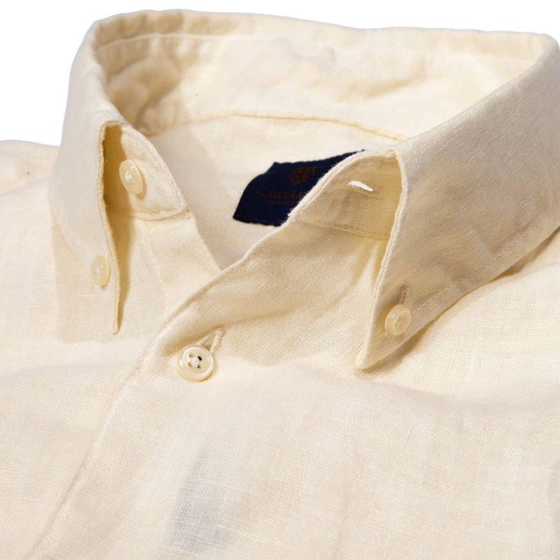 Slim Fit Off White Linen Garment Dyed Shirt