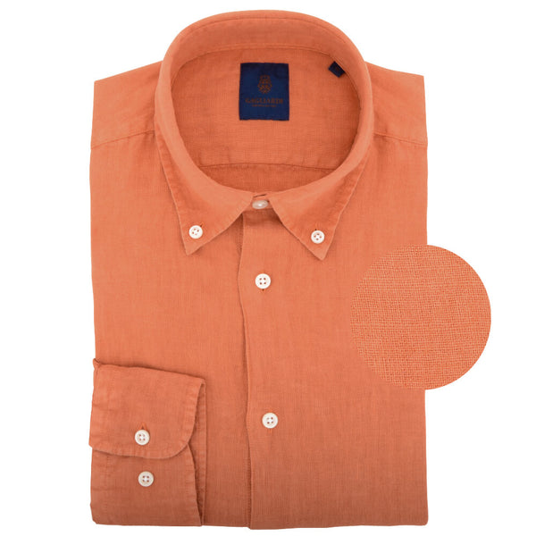 Orange Linen Button Down Shirt - Gagliardi